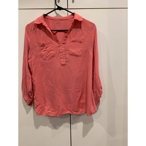 LOFT coral 3/4 sleeve v neck with pockets. size sp